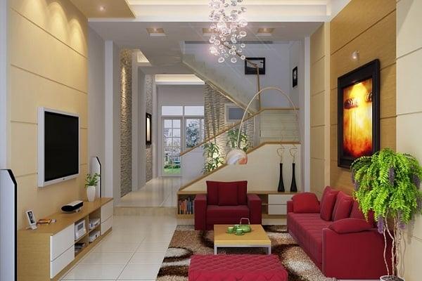 Sử dụng ghế sofa văng dài áp tường giúp mở rộng không gian, thuận tiện trong giao thông đi lại sinh hoạt thường ngày