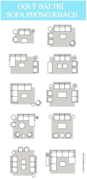 Một số ý tưởng khi bài trí sofa phòng khách với kích thước sofa tương ứng.
