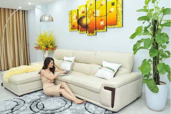 bàn ghế sofa góc bằng da cho không gian phòng khách