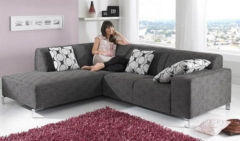bộ bàn ghế sofa góc chữ L chất liệu nỉ cao cấp