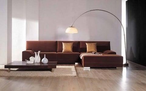 Đẳng cấp sang trọng khi bài trí sofa có gam màu nâu da bò trong phòng khách