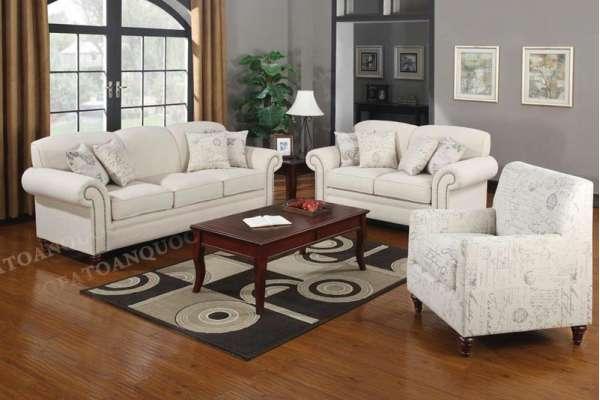 sofa vải màu trắng cho phòng khách
