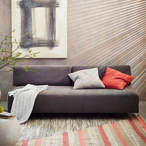 bàn ghế sofa nỉ màu xám nhỏ