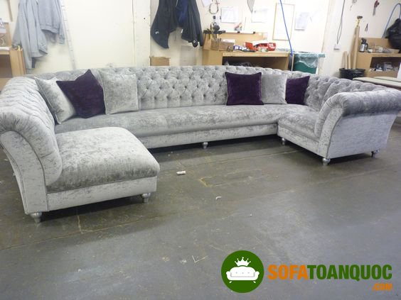 bộ bàn ghế sofa góc tân cổ điển cho phòng khách đẹp