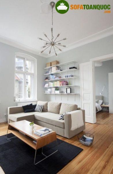 bộ bàn ghế sofa góc bằng nỉ cho phòng khách
