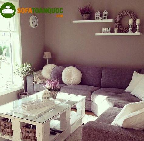 sofa góc bằng nỉ màu tím