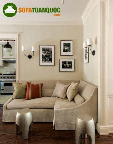 bàn ghế sofa góc chất liệu vải nỉ cho phòng khách