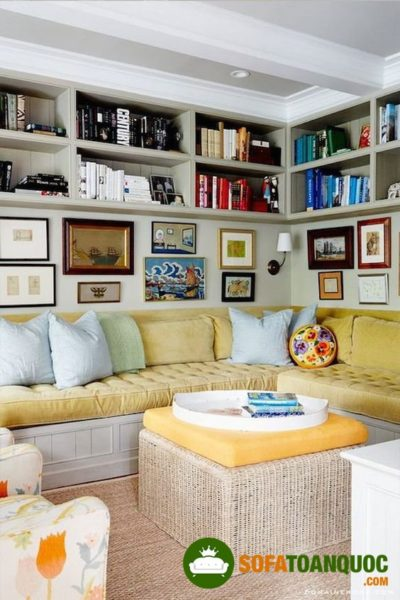 bộ bàn ghế sofa góc bọc nỉ đẹp cho phòng khách