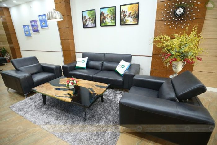 Bộ ghế sofa da màu đen mã 1-1-2 M16