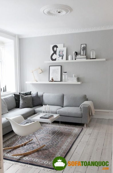 bộ bàn ghế sofa góc chất liệu vải nỉ màu xám