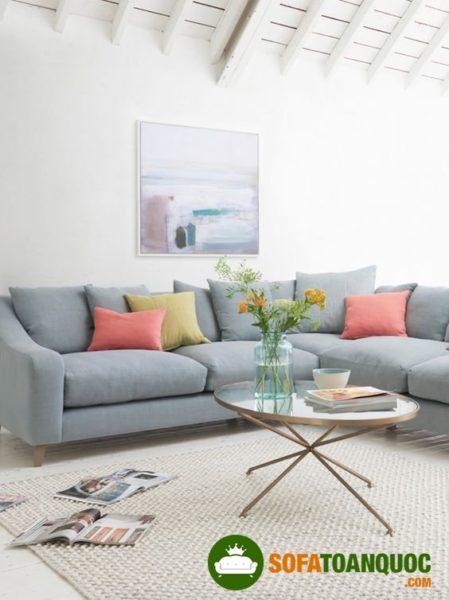 bộ ghế sofa vải màu xám giá rẻ cho phòng khách