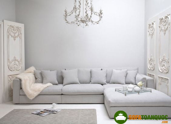 sofa vải bố phòng khách cổ điển