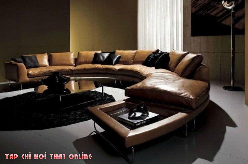 ghế sofa chữ C cho phòng khách rộng da thật màu nâu