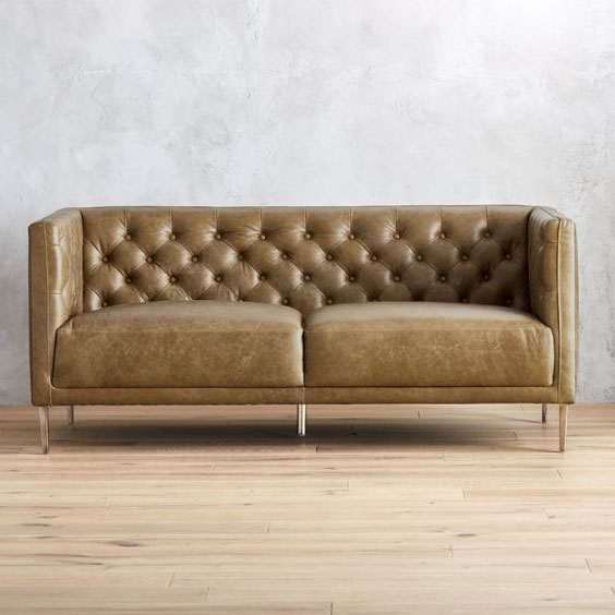 ghế sofa tân cổ điển bọc da văng dài