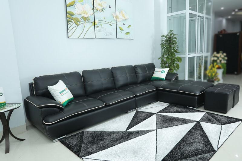 Ghế sofa da màu đen mã M05.