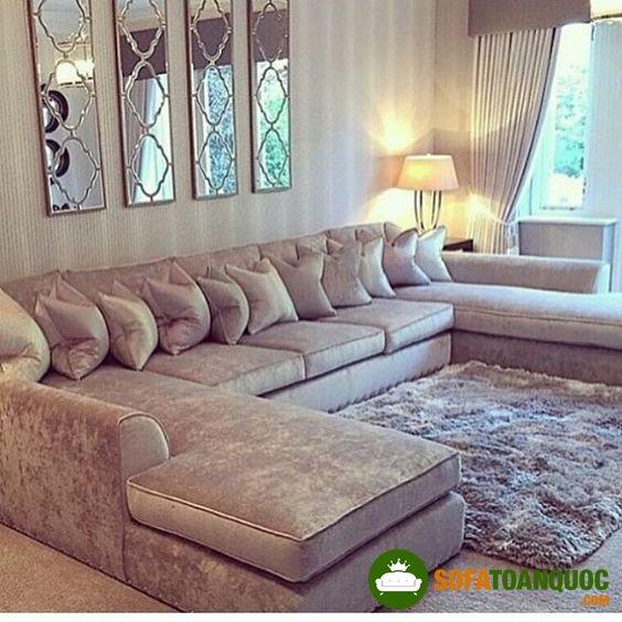 Bộ bàn ghế sofa góc lớn cho không gian phòng khách
