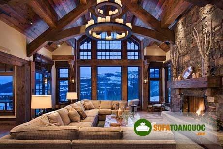 Phòng khách lớn phong cách hiện đại nên lựa chọn bộ sofa góc khổng lồ