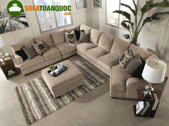 Bộ bàn ghế sofa góc chữ L cho phòng khách rộng
