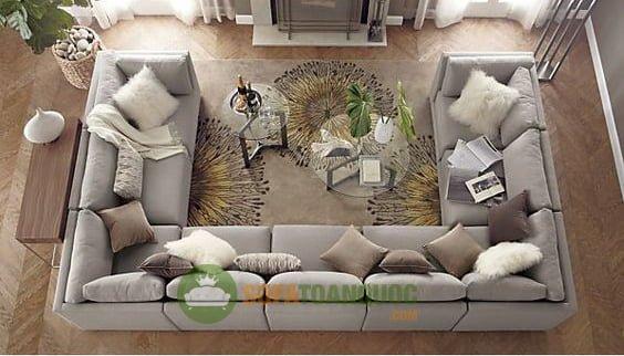 bộ bàn ghế sofa góc lớn phòng khách