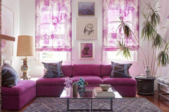 sofa vải góc màu tím hiện đại