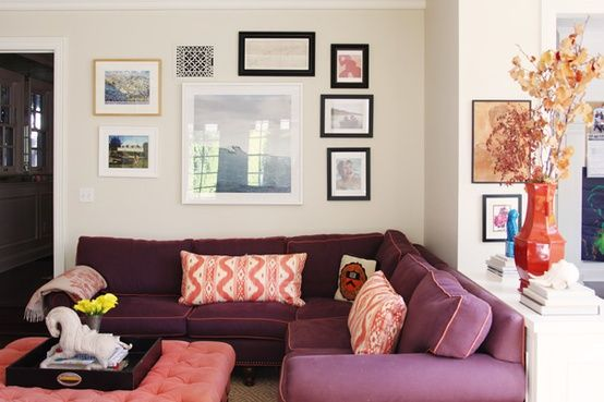 bộ ghế sofa góc vải màu tím đẹp