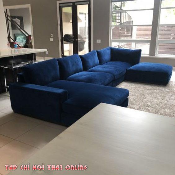 ghế sofa góc xanh coban