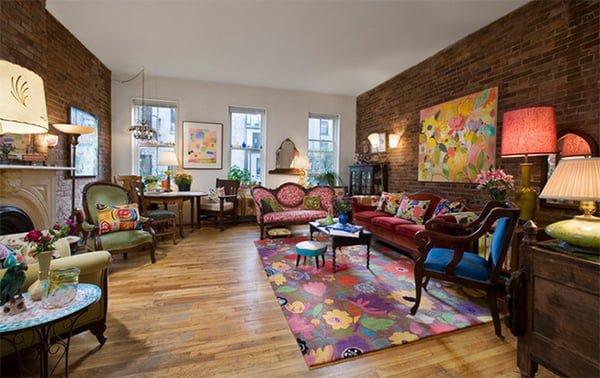 bàn ghế sofa vải hoa cho phòng khách đầy sức sống