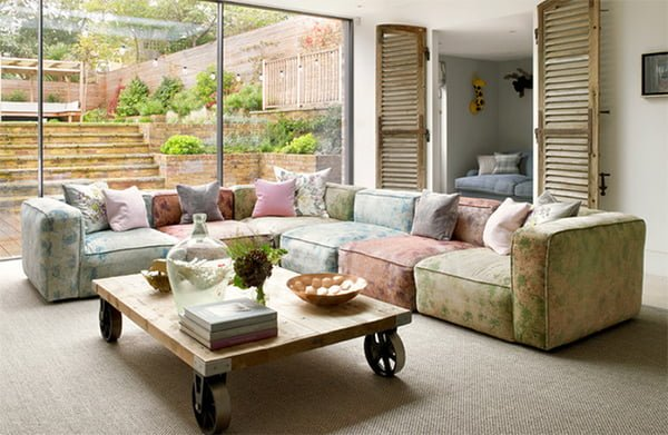 bàn ghế sofa vải hoa cho phòng khách