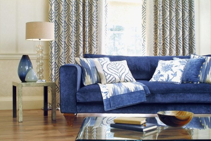 Bộ ghế sofa vải màu xanh cho không gian phòng khách