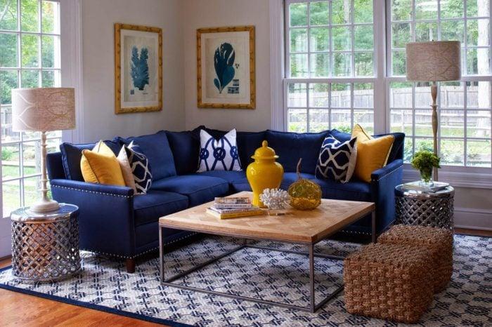 Ghế sofa vải màu xanh cho căn phòng khách