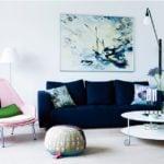 Bộ sofa vải màu xanh da trời cho phòng khách cực kỳ nổi bật