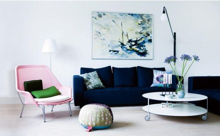 bàn ghế sofa vải nỉ màu xanh