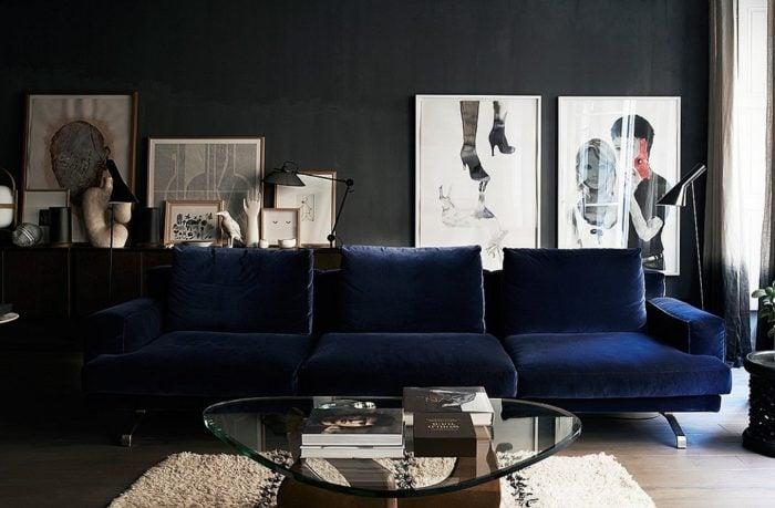 bàn ghế sofa vải màu xanh cho không gian phòng khách