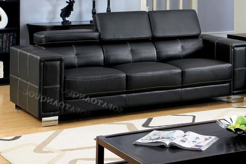 Ghế sofa da màu đen hiện đại mã SFVA84