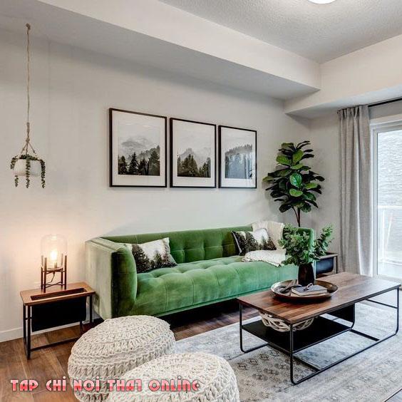 ghế sofa màu xanh lá cây văng dài