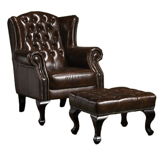 Sofa đơn và đôn sofa chất liệu da thật cực kỳ sang trọng