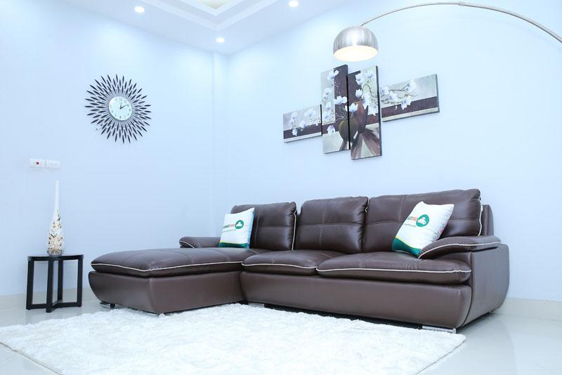 ghế sofa da chữ L màu nâu cafe
