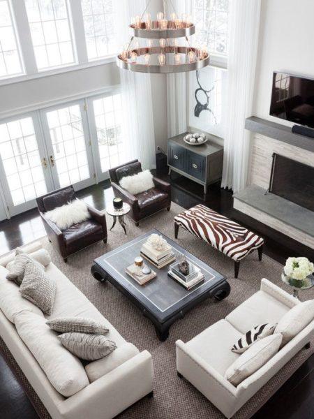 sofa da hiện đại màu trắng cho không gian phòng khách