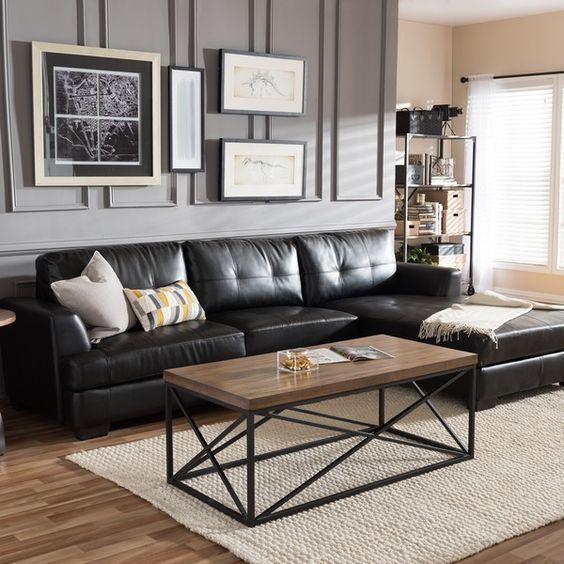 ghế sofa da màu đen dạng góc.