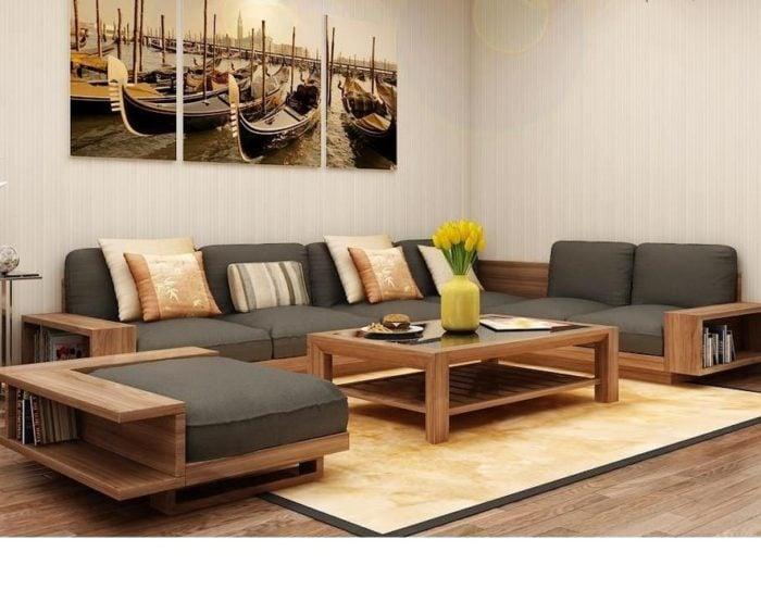 sofa góc gỗ đệm nỉ sang trọng