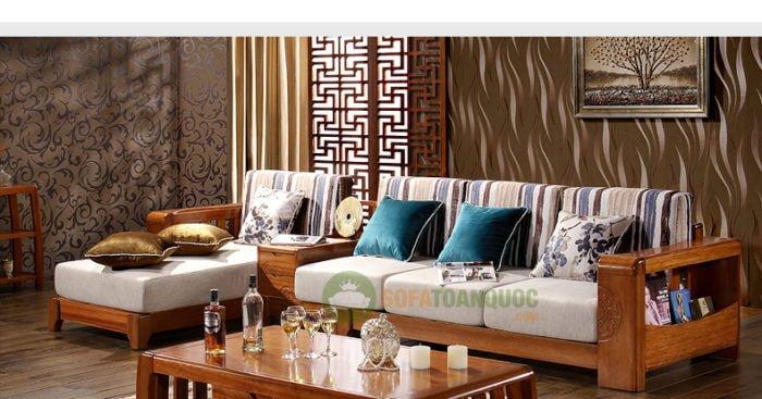 Sofa góc gỗ đệm cho phòng khách tiện nghi
