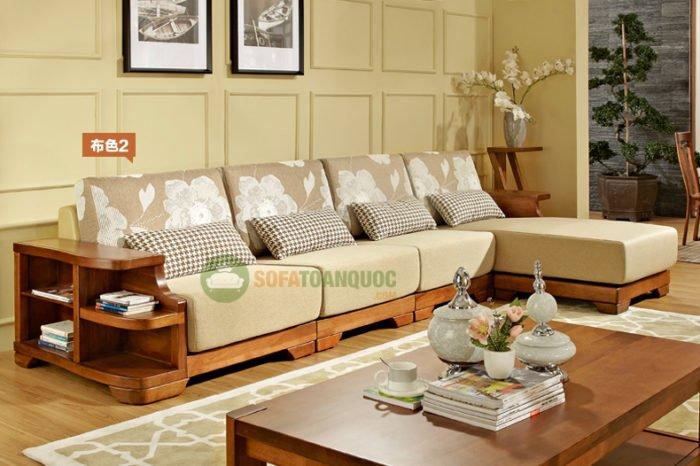 ghế sofa góc gỗ đệm bằng xoan đào