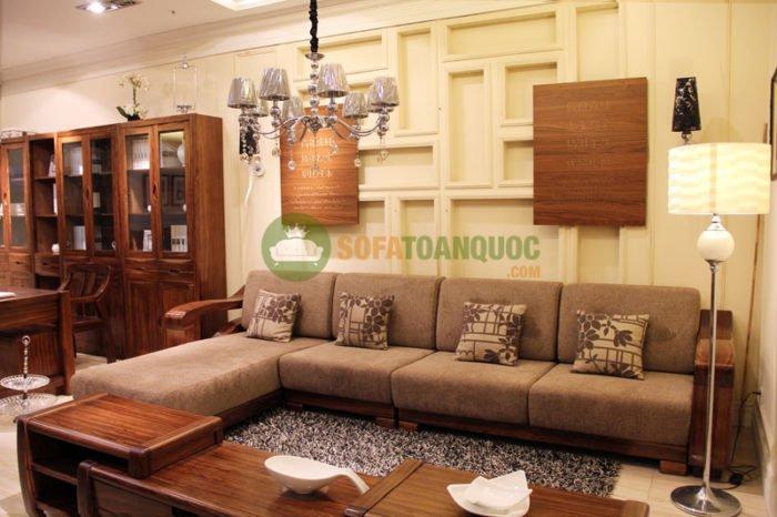 sofa góc gỗ đệm cho phòng khách