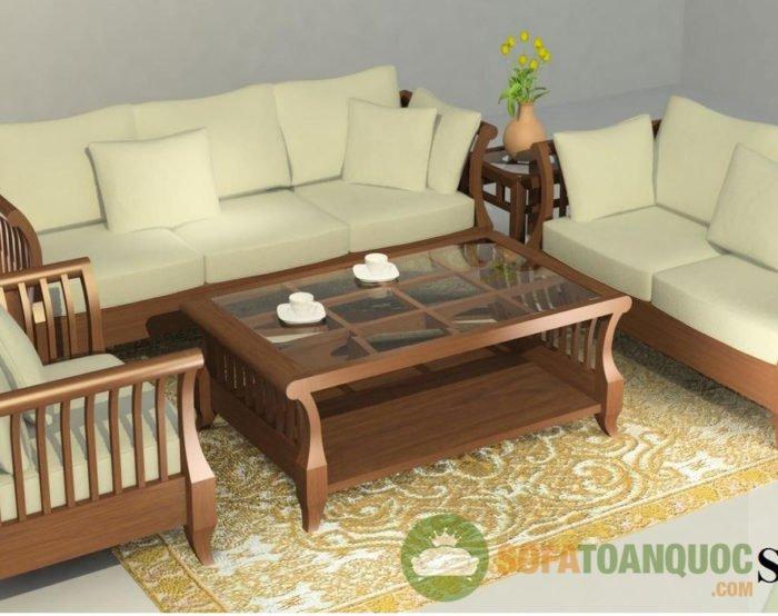 Sofa góc gỗ đệm đẹp cho phòng khách