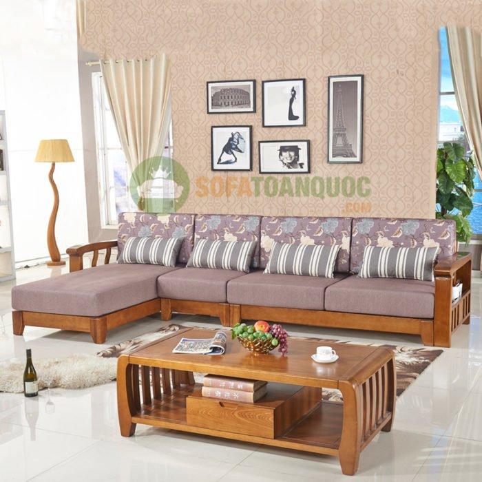 Mẫu bàn ghế sofa góc gỗ đệm cho phòng khách