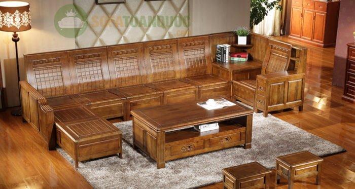 bàn ghế sofa góc gỗ sồi đẹp hiện nay
