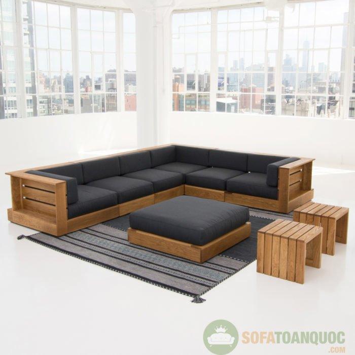 bộ bàn ghế sofa góc gỗ đẹp
