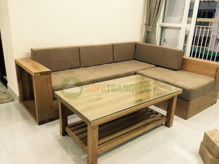 bộ bàn ghế sofa góc gỗ nhỏ gọn