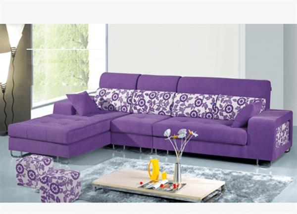 bộ ghế sofa góc chất liệu vải màu tím