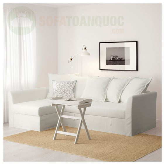 Bộ ghế sofa góc màu trắng cho phòng khách